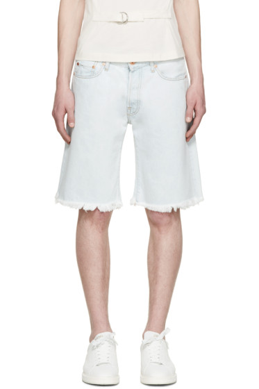 Off-White - Blue Denim Bleach Shorts