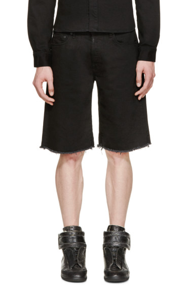 Off-White - Black Frayed Denim Shorts
