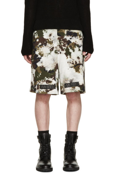 Off-White - Green & Brown Camouflage Shorts