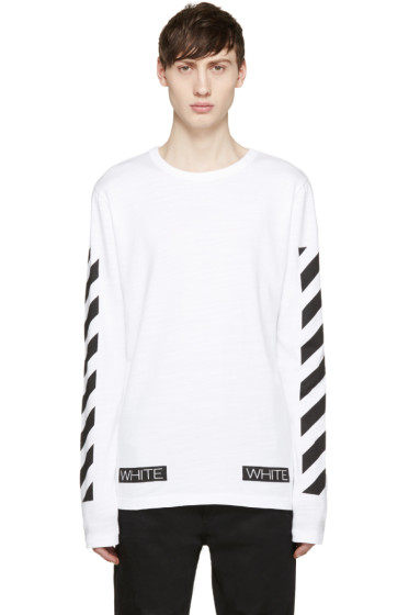 "Off-White - White ""Blue Collar"" T-Shirt"