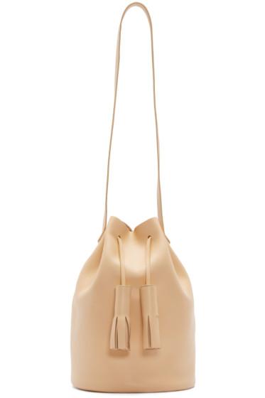 Building Block - Beige Leather Tassel Bucket Bag