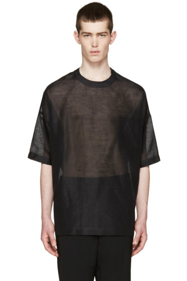 Johnlawrencesullivan - Black Oversized Sheer T-Shirt