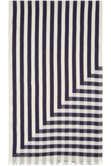 Undecorated Man - Ivory & Navy Linen Striped Scarf
