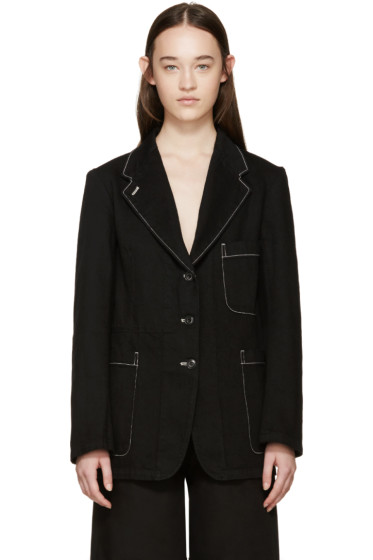 Lemaire - Black Denim Topstitched Blazer