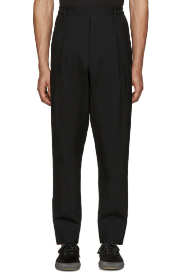 Lemaire - Black Wool Pleated Trousers