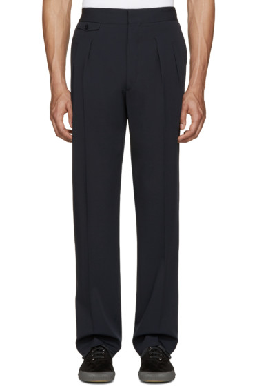 Lemaire - Navy Pleated Wide-Leg Trousers