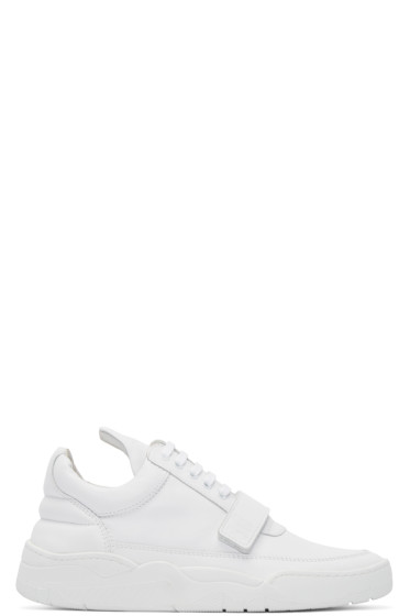 Filling Pieces - White Leather Strap Sneakers