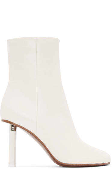 Vetements - Ivory Leather Ankle Boots