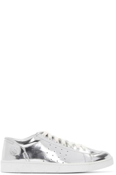 LOEWE - Silver Metallic Leather Sneakers