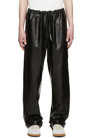 LOEWE - Black Leather Trousers