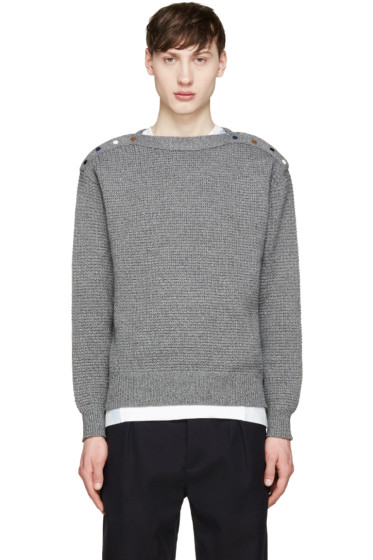 Toga Virilis - Grey Button Vent Sweater