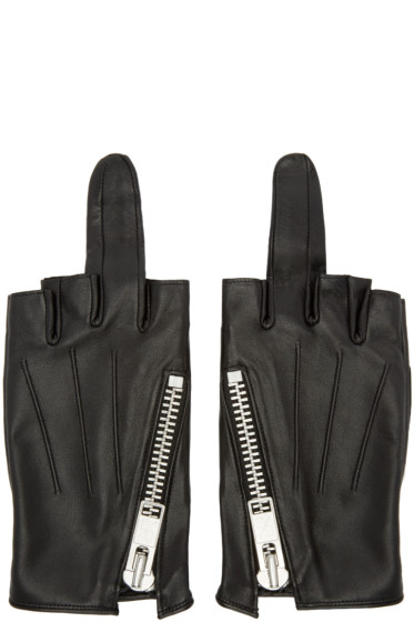 99% IS - Black Leather Single-Finger Zip Gloves