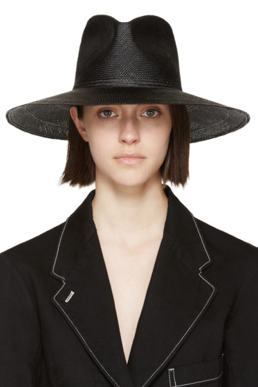 Clyde - Black Straw Pinch Panama Hat