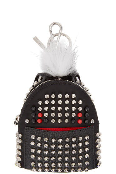 Fendi - Black Fur-Trimmed Studded Backpack Keychain