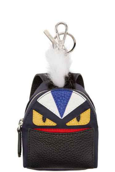 Fendi - Navy Fur-Trimmed Monster Backpack Keychain