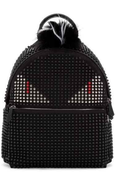 Fendi - Black Fur-Trimmed Stud Monster Backpack