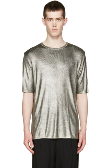 Fendi - Silver Shiny Ribbed T-Shirt