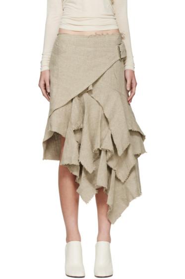 Marques Almeida - Beige Linen Wrap Skirt