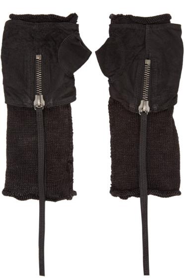 Isabel Benenato - Black Leather & Mesh Fingerless Gloves