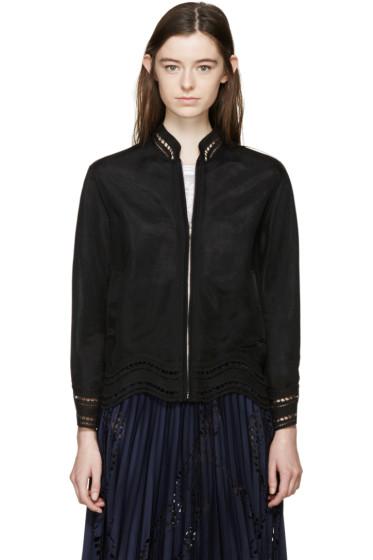 Emilio Pucci - Black Lace Trim Bomber Jacket