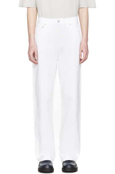 CMMN SWDN - White Wide-Leg Maxime Jeans