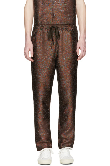 CMMN SWDN - Brown Leopard Jacquard Matt Trousers