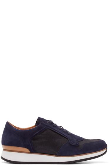 No.288 - Navy Suede & Mesh Bleecker Low-Top Sneakers