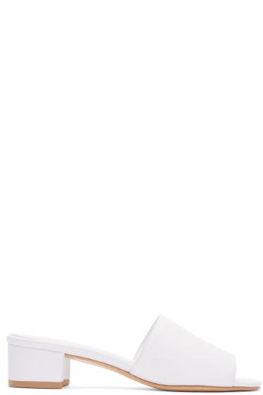Maryam Nassir Zadeh - White Leather Sophie Slide Sandals