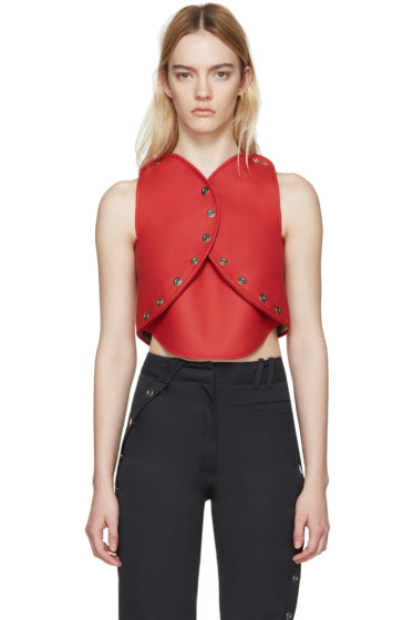 Courrèges - Red Faux-Leather Circle Top