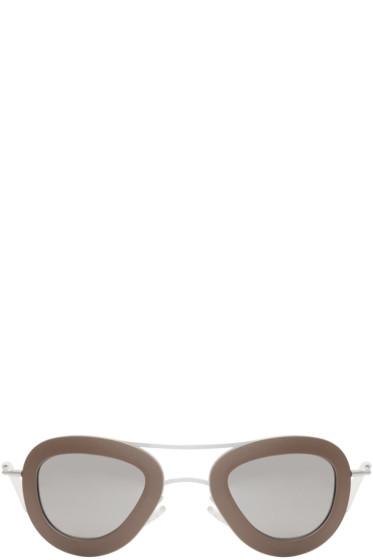 Haal - Silver & Taupe Erika Aviator Sunglasses