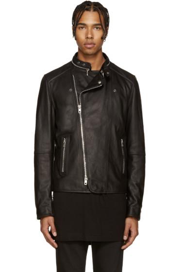 Diesel Black Gold - Black Leather Biker Jacket