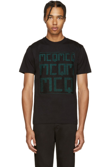 McQ Alexander Mcqueen - Black Embroidered T-Shirt