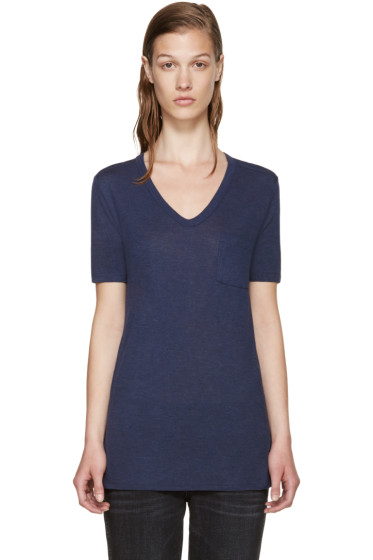 T by Alexander Wang - Blue Jersey T-Shirt