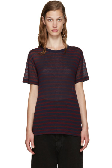 T by Alexander Wang - Red & Navy Striped T-Shirt
