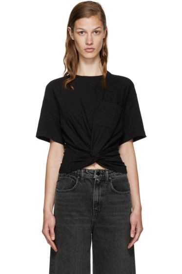 T by Alexander Wang - Black Jersey Twist T-Shirt