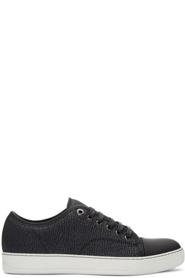 Lanvin - Black Shark-Embossed Leather Sneakers