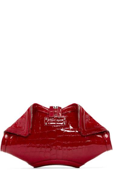 Alexander McQueen - Red Croc-Embossed Small De Manta Clutch