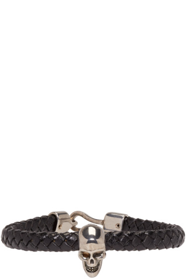 Alexander McQueen - Black Braided Leather Skull Bracelet