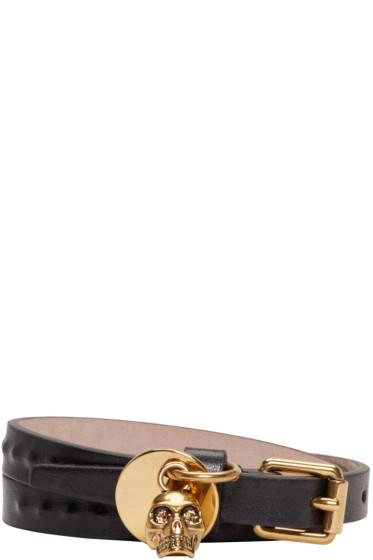 Alexander McQueen - Black Leather Skull Charm Bracelet