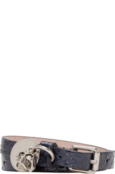 Alexander McQueen - Navy Leather Double-Wrap Bracelet