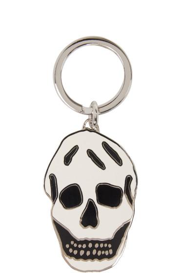 Alexander McQueen - Silver & White Skull Keychain