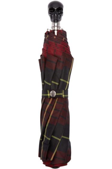 Alexander McQueen - Red Check Skull Umbrella