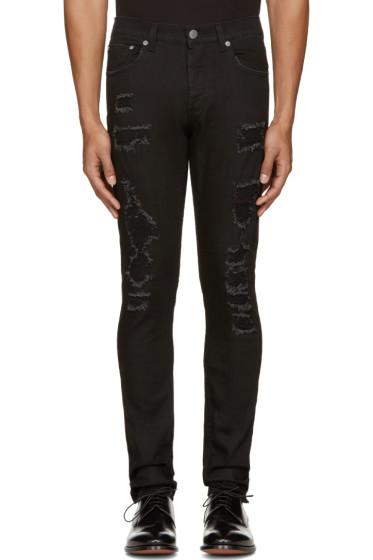 Alexander McQueen - Black Distressed Jeans
