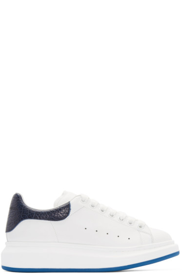 Alexander McQueen - White & Navy Embossed Sneakers