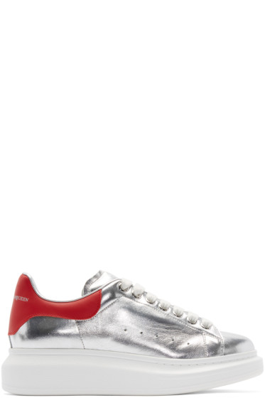 Alexander McQueen - Silver & Red Leather Sneakers