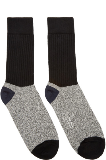 Paul Smith - Black & Grey Rib Socks