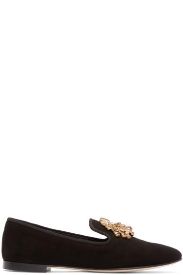 Giuseppe Zanotti - Black Embellished Dalila Loafers