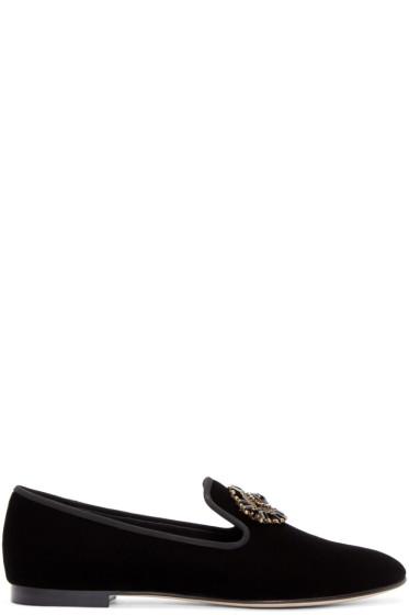Giuseppe Zanotti - Black Velvet Embellished Veronica Loafers