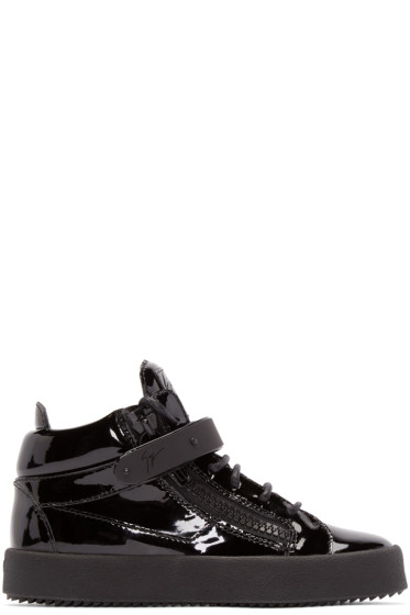 Giuseppe Zanotti - Black Patent Leather London High-Top Sneakers