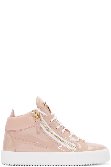 Giuseppe Zanotti - Pink Patent Leather London High-Top Sneakers